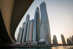 Sunrise at Dubai marina with tallest buildings, UAE Royalty Free Stock Image