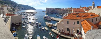 Sunrise at the Dubrovnik harbor and marina stock photo