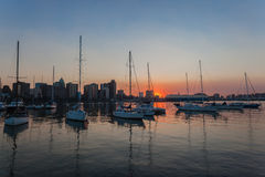 Sunrise Durban Harbor Yachts Royalty Free Stock Photos
