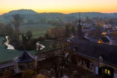 Sunrise in the Dutch moutains seen from a castle royalty free stock photo
