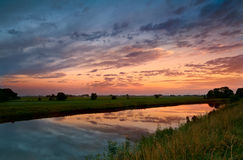 Sunrise on Dutch river Royalty Free Stock Photography