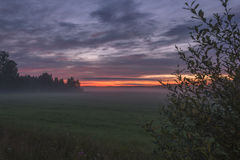 Sunrise. Early in the morning in Central Finland stock photography