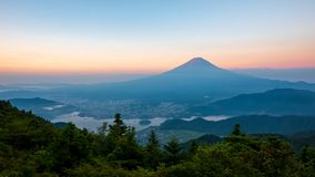 Sunrise in early morning at Fuji mount in summer season royalty free stock photo