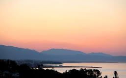 Sunrise Early Morning in Marbella Spain. Sunrise over Mountains Early Morning in Marbella Spain on the Costa del Sol Stock Photo