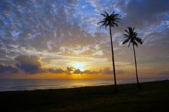 Sunrise in early morning. At tropical beach at Terengganu, Malaysia Stock Photography