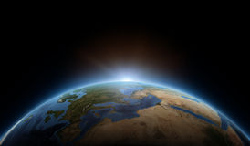 Sunrise on earth. As seen from space.  Elements of this image furnished by NASA