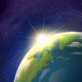 Sunrise Earth Space View Realistic Poster Royalty Free Stock Images