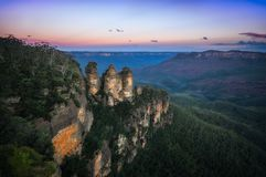 Sunrise at Ecco Point in Blue Mountains. Sunrise at Ecco Point - Three Sisters -Blue Mountains National Park, Katomba, New South Wales, Australia. The name of Stock Images