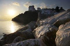 Sunrise on the edge of the water on the Ponza island. Italy. stock images