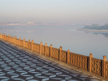 Sunrise on the edge of the Yamuna river. Stock Images