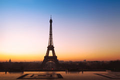 Sunrise at Eiffel tower Royalty Free Stock Photo