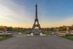 Sunrise with the Eiffel Tower in Paris, France Stock Photos