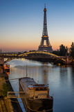 Sunrise on the Eiffel Tower and Seine River, Paris, France Stock Photo