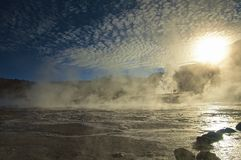 Sunrise at El Tatio geysers, Atacama stock photography