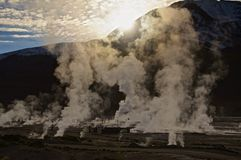 Sunrise at El Tatio geysers, Atacama Royalty Free Stock Photo