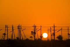 Sunrise in electrical poles Stock Image