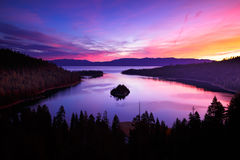Sunrise at Emerald Bay. Colorful sunrise at Emerald Bay, Lake Tahoe, California royalty free stock photography