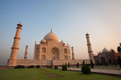 Sunrise at Empty Taj Mahal and Jawab. The Taj Mahal's neighboring building, the jawab at sunrise Stock Image