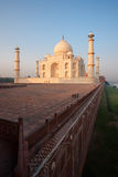 Sunrise at Empty Taj Mahal, Wall and River Bank Stock Images