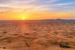 Sunrise in Erg Chebbi Sand dunes near Merzouga, Morocco Stock Image
