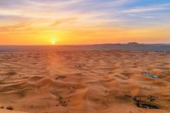 Sunrise in Erg Chebbi Sand dunes near Merzouga, Morocco Stock Image
