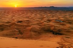 Sunrise in Erg Chebbi Sand dunes near Merzouga, Morocco Royalty Free Stock Photography