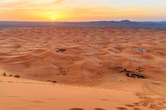 Sunrise in Erg Chebbi Sand dunes near Merzouga, Morocco Stock Images