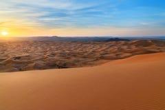Sunrise in Erg Chebbi Sand dunes near Merzouga, Morocco Stock Photos
