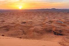 Sunrise in Erg Chebbi Sand dunes near Merzouga, Morocco Royalty Free Stock Images