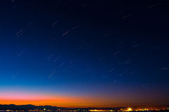 star trails at erhai lake Royalty Free Stock Image