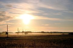 Sunrise in Estonian countryside royalty free stock photos