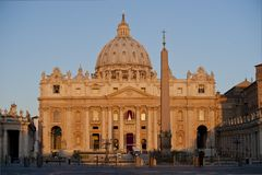 Sunrise on the  Facade of Saint Peter's Basilica in Rome Royalty Free Stock Image