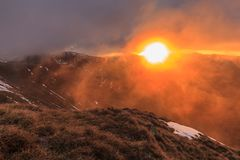 Sunrise in Fagaras Mountains Stock Image