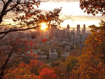 Sunrise at fall. Autumn Montreal downtown view from Mont-Royal at sunrise Royalty Free Stock Photos