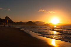 Sunrise in Famous Copacabana Beach Royalty Free Stock Photo