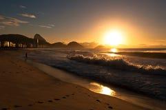 Sunrise in Famous Copacabana Beach Stock Photography