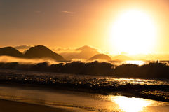 Sunrise in Famous Copacabana Beach Royalty Free Stock Photos