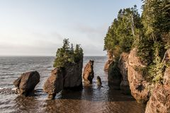 Sunrise famous Hopewell Rocks geologigal formations at low tide biggest tidal wave Fundy Bay New Brunswick Canada Royalty Free Stock Photos