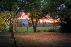 Sunrise on a farm in South Africa. Sunrise on an autumn farm landscape in South Africa stock photo