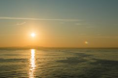 Sunrise from the ferry leaving from the city of Palma towards Ibiza Royalty Free Stock Image