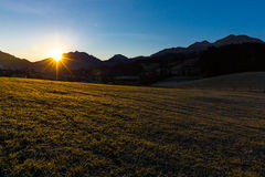 Sunrise in Fieberbrunn. On the cold morning of the 13th of november 2015, I was able to capture the sunrise in fieberbrunn. Fieberbrunn is a market town in tyrol Royalty Free Stock Image