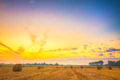 Sunrise field, hay bale in Belarus. Stock Images
