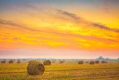 Sunrise field, hay bale in Belarus. Royalty Free Stock Photography