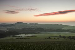 Sunrise in Fife with frost on the ground royalty free stock image