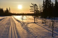 Sunrise in Finnish Lapland Royalty Free Stock Images