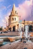 Sunrise at Fisherman Bastion in Budapest, Hungary stock photo