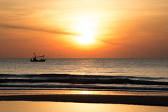 Sunrise. Fisherman Boat with Sunrise at Hua-Hin Thailand Royalty Free Stock Images