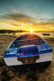 Sunrise with fishing boats Royalty Free Stock Photo