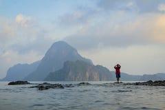 sunrise fishing in El Nido, Philippines royalty free stock photo