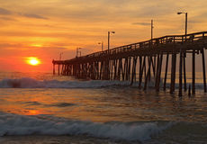Sunrise by a fishing pier in North Carolina Royalty Free Stock Images